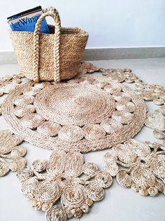 5ft & 4ft ROYAL ELA Round Rugs Natural Sand by DaintyRedBird, $279.50