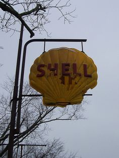 Vintage Shell Sign by The Upstairs Room, via Flickr