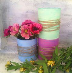Painted Tin Cans, Centerpieces, Wedding Centerpiece, Dorm Organiser, Christening, Baptism, Easter Decor, Spring Decor, Pastel Deco, on Etsy, $8.08 AUD