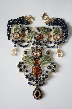 VERY dramatic bead embroidered necklace! Made by Oksana Petriv made using natural amber, pearls, Swarovski crystals, Japanese seed beads, TierraCast and plated findings. Bead Embroidery Jewelry, Soutache Jewelry, Beaded Embroidery, Beaded Jewelry, Handmade Jewelry, Beaded Necklace, Unique Jewelry, Necklaces, Jewelry Crafts