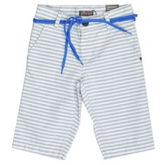 Gray Stripe Shorts designed by Jean Bourget. Features a button and zip closure with shoelace-style belt.