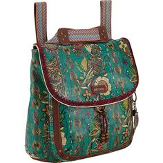 Sakroots Artist Circle Coated Convertible Backpack ($69) ❤ liked on Polyvore featuring bags, backpacks, blue, fabric handbags, handbags, backpack crossbody, day pack backpack, convertible crossbody, flap crossbody bag and zipper bag