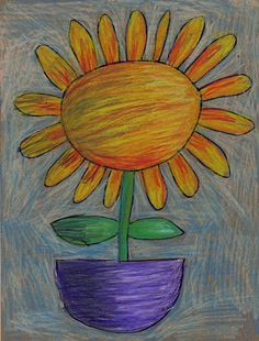 Art Projects for Kids: Color Stix Flower Drawing