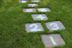 Build a Permanent Backyard Hopscotch Board >> http://www.diynetwork.com/how-to/outdoors/outdoor-spaces/how-to-make-a-permanent-backyard-hopscotch-board