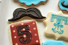 Cookies by www.SoonerSugar.com Circus/mustache/birthday cookies