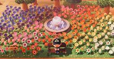 Flower Garden Layouts, Flower Garden Design, Garden Ideas, Small Garden Design, Animal Crossing Wild World, Animal Crossing Game, Champs, Flower Feild, Fountain Design