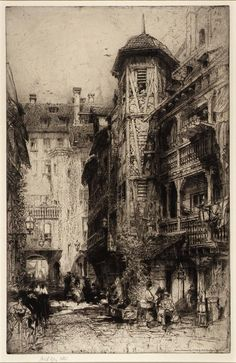 Cour de Corbeau, Strassburg - 1919 / Hedley Fitton (English, 1857-1929), etching / Smithsonian American Art Museum Gift of Dr. and Mrs. John Crane 1970.83 (Not currently on view)