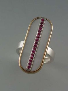 Janis Kerman: Ring, sterling silver, 18K gold, white mother of pearl and pink sapphires,