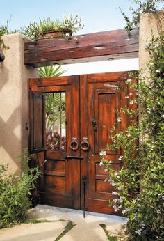50 Fascinating Wooden Garden Gates Ideas - Lilly is Love Wooden Garden Gate, Garden Gates, Front Gates, Entry Gates, Front Entry, Spanish Style Homes, Spanish House, Spanish Revival, Spanish Colonial