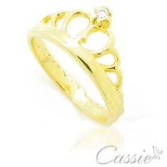 Anel Coroa folheado a ouro com garantia. www.cassie.com.br