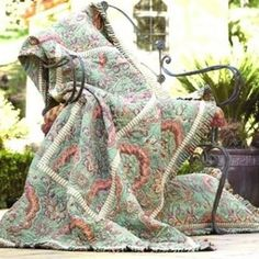 French Twin Quilt in Green and Salmon