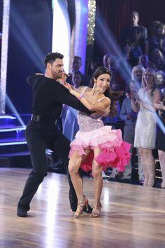 "Maks Chmerkovskiy & Meryl Davis danced a cha-cha to Icona Pop's ""All Night"" - Dancing With the Stars - week 1 - season 18 - spring 2014 - score 8+8+8= 24 of 30 possible points"