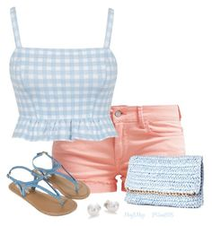 """""""Gingham Crop Top"""" by octobermaze ❤ liked on Polyvore featuring Le Temps Des Cerises, Miss Selfridge, H&M, Mikimoto and Monsoon"""