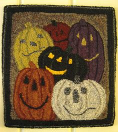 """Primitive Hooked Rug Halloween JOL's (15 x 16"""") Cathys*CountryGoods~ USAPRIM 