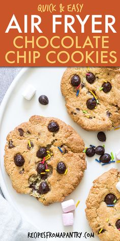 These Air Fryer Chocolate Chip Cookies are the quickest & easiest Air Fryer Cookies dessert you will ever make. Crunchy on the edges, soft in the middle, and filled with chocolate chips in every bite. Can you bake cookies in an air fryer? Yes you can! It's a great way to free up your oven or to avoid turning on the oven altogether. Click through to get this recipe for making easy cookies in the air fryer!! #airfryercookies #airfryer #airfryerrecipes #chocolatechipcookies #cookierecipes… Easy Baking Recipes, Easy Cookie Recipes, Best Dessert Recipes, Sweets Recipes, Easy Desserts, Snack Recipes, Air Fryer Recipes Vegan, Air Fryer Dinner Recipes, Chocolate Chip Cookie Cake