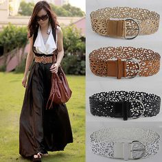New Fashion Stylish Women Lady Wide Leather Hollow Buckle Waistband Belt