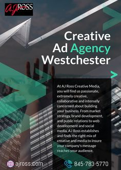 AJ Ross best Creative Ad Agency in Westchester. AJ Ross Creative Media offers complete marketing and advertising solution. From market strategy, brand development, and public relations to web development and social media you will find great service. Advertising Services, Creative Advertising, Marketing And Advertising, Digital Marketing, Copywriting, Public Relations, Business Marketing, Web Development, Social Media
