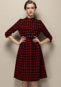 Red Stand Collar Plaid Slim Dress - Sheinside.com