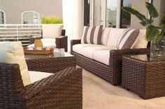 Wicker patio sofa and chair