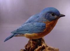 Eastern Bluebird bird wood carving: Eastern Bluebird Wood Carving