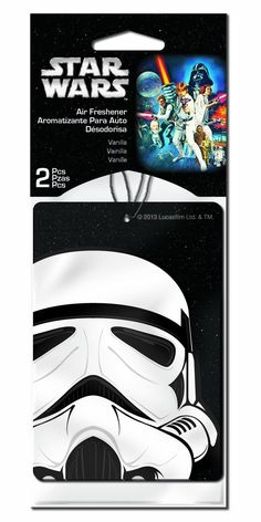 This Star Wars Darth air freshener set is the perfect way to freshen the scent in your vehicle while showing off your favorite character! Long lasting, fresh vanilla scent. Elastic string makes hangin