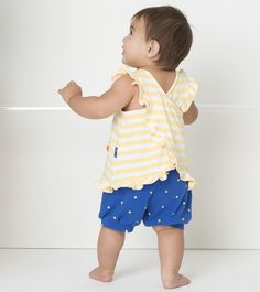 Le Top 'Quack!' Striped Popover and Dot Shorts