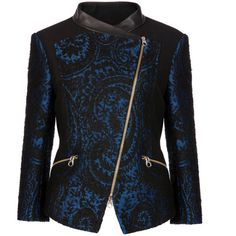 Ted Baker ETINA Asymmetric biker jacket (2 375 ZAR) ❤ liked on Polyvore featuring outerwear, jackets, print jacket, asymmetrical moto jacket, pattern jacket, ted baker and asymmetrical jacket