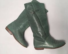 Green leather boots 6 | Geoffrey Beene Bag Stevie Nicks Boho Boots | Riding boots