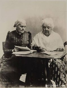 Susan B. Anthony reads, Elizabeth Cady Stanton writes.
