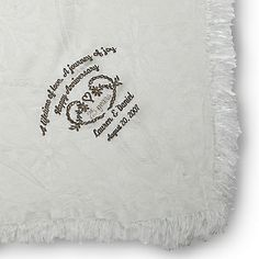Embroidered 25th Anniversary Throw , Add a Monogram, Name or Initials
