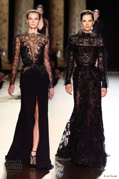 elie saab fall 2012 2013 couture sheer black lace gowns long sleeves