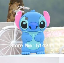 Hot 3D blue Stitch Cartoon Soft Silicone Cover Case for Apple iPhone 3 3G 3GS Free Shipping(China (Mainland))