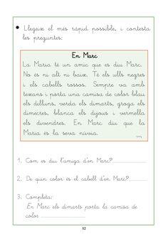 Resultat d'imatges de comprensió lectora per cicle inicial Catalan Language, Conte, Valencia, Bullet Journal, Teacher, Album, Activities, Writing, Education