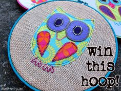This Embroidered Hoop Owl could be yours!!  Enter this giveaway until October 26, 2012!