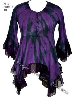 Dark Star Purple and Black Gothic Georgette Renaissance Bell Sleeve Top [JD/BL/6112BlkPurple] - $52.99 : Mystic Crypt, the most unique, hard to find items at ghoulishly great prices!