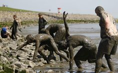 Participants in the German Mud Olympics emerge, covered in mud