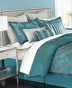 Martha Stewart Collection Bedding, Moonlit Tide 9 Piece Queen Comforter Set - Bed in a Bag - Bed & Bath - Macys