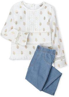c534ea3378a Lucky Brand Girls 4-6x) Two-Piece Crochet Trim Gauze Top   Jeggings Set