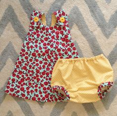 Baby Girl Dress-Roses Dress-Summer Dress-Yellow Polka Dots, Rose Print, Baby Blue on Etsy, $44.99