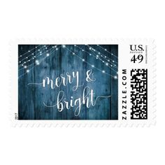 Merry & Bright Rustic Blue Wood with White Lights Postage - merry christmas diy xmas present gift idea family holidays