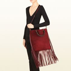 The SS 2014 Gucci Bamboo Fringe Shopper Suede Tote
