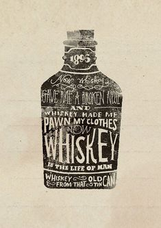 I like this style of typography for the whiskey bottle in this image because, its simply made just a black bottle with white lettering. The WHISKEY writing on the front say that its a strong drink. Vintage Typography, Typography Letters, Chalkboard Typography, Typography Inspiration, Design Inspiration, Design Ideas, Design Package, Hand Drawn Type, Hand Type