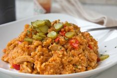 The whole family will love this simple and very spicy chicken rice meat. With this recipe you bring Chicken Rice, Recipe Chicken, Frittata, Polenta, Fried Rice, Meat Recipes, Risotto, Spicy, Food And Drink