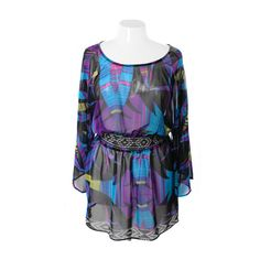 Plus Size Bell Sleeve Designer Flowing Purple Dress , Plus Size... ($40) ❤ liked on Polyvore