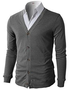 Men's Clothing - H2H Mens Casual Slim Fit Basic Designed Long Sleeve VNeck Front Button Cardigan * Want to know more, click on the image. (This is an Amazon affiliate link)