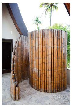 Bamboo House, Bamboo Wall, Bamboo Bathroom, Outdoor Living, Outdoor Spaces, Outdoor Decor, Outdoor Ideas, Outdoor Shower Inspiration, Diy Inspiration