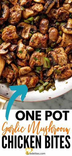 Mushroom Chicken Bites - Low Carb Mushroom Chicken Bites are a one pot dish that is so satisfying. Juicy seasoned chicken, garlic, mushroom all in one low carb recipe. #chicken #mushrooms #garlic #easy #dinner #lowcarb #onepot #onepan<br> One Pot Dishes, Dinner Dishes, One Pot Meals, Recipe Chicken, Healthy Chicken Recipes, Keto Chicken, Kung Pao Chicken, Chicken Bites, Mushroom Chicken