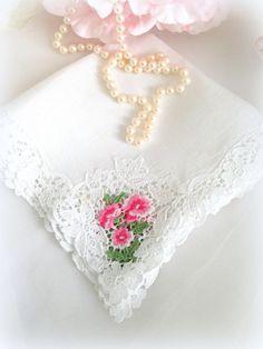 Vintage Desco Hankie Bride White Wedding Never by LollysCubbyHole