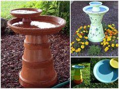 DIY Flower Pot Bird Bath! Transform a couple old pots into a Lovely garden centerpiece for the birds... (click on photo for more)