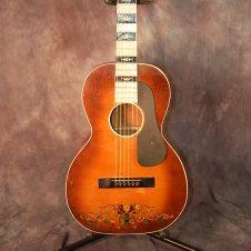 Regal Fleur de lis Mother of Toilet Seat Fretboard Parlor Guitar Original Softshell Case 1930's Rose Trellis Stencil..Give us a call. Lawman Guitars. 515-864-6136